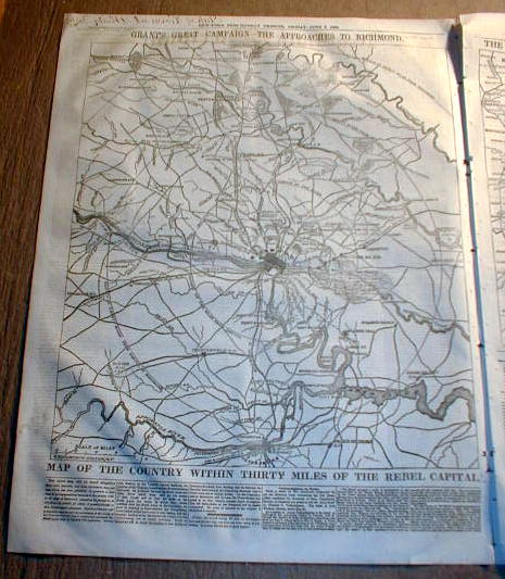 1864 Civil War Newspaper w 2 Large Maps Virginia Battles Georgia Tennessee
