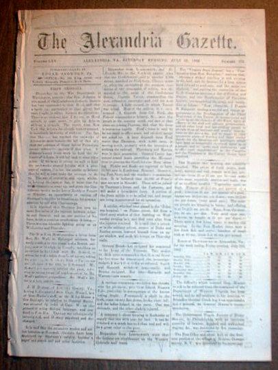 Virginia Civil War Newspaper Confederate Gen Joseph Johnston