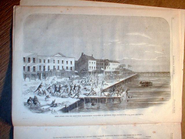 Civil War Newspaper w 2 LG Engravings Battle of Galveston Texas