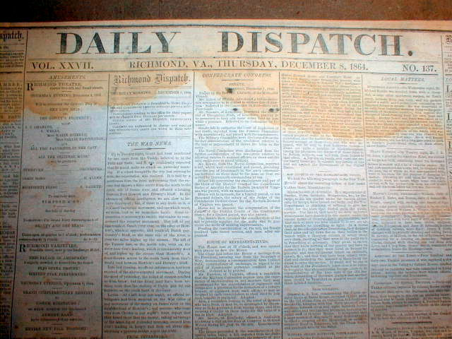 1864 Confederate Civil War Newspaper John Singleton Mosby John B Hood Franklin
