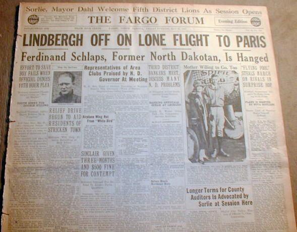 1927 headline newspaper lindbergh solo flight across for Flights ny to paris