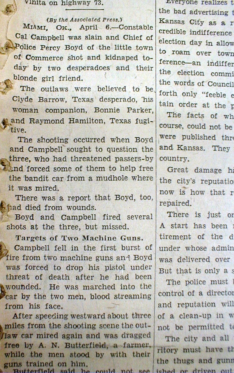 bonnie and clyde in oklahoma Learn about the day that the clyde barrow and bonnie parker gang visited what is now southlake, texas, and the two state troopers they killed.