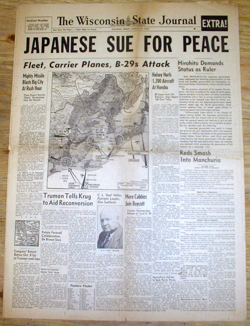 the atomic bomb and the surrender of japan London — american military archives reveal that if the japanese had not  surrendered on august 15, 1945, they would have been hit by a.