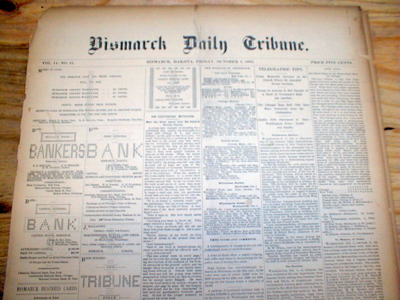 Rare original 1885 BISMARCK DAILY TRIBUNE newspaper NORTH ...