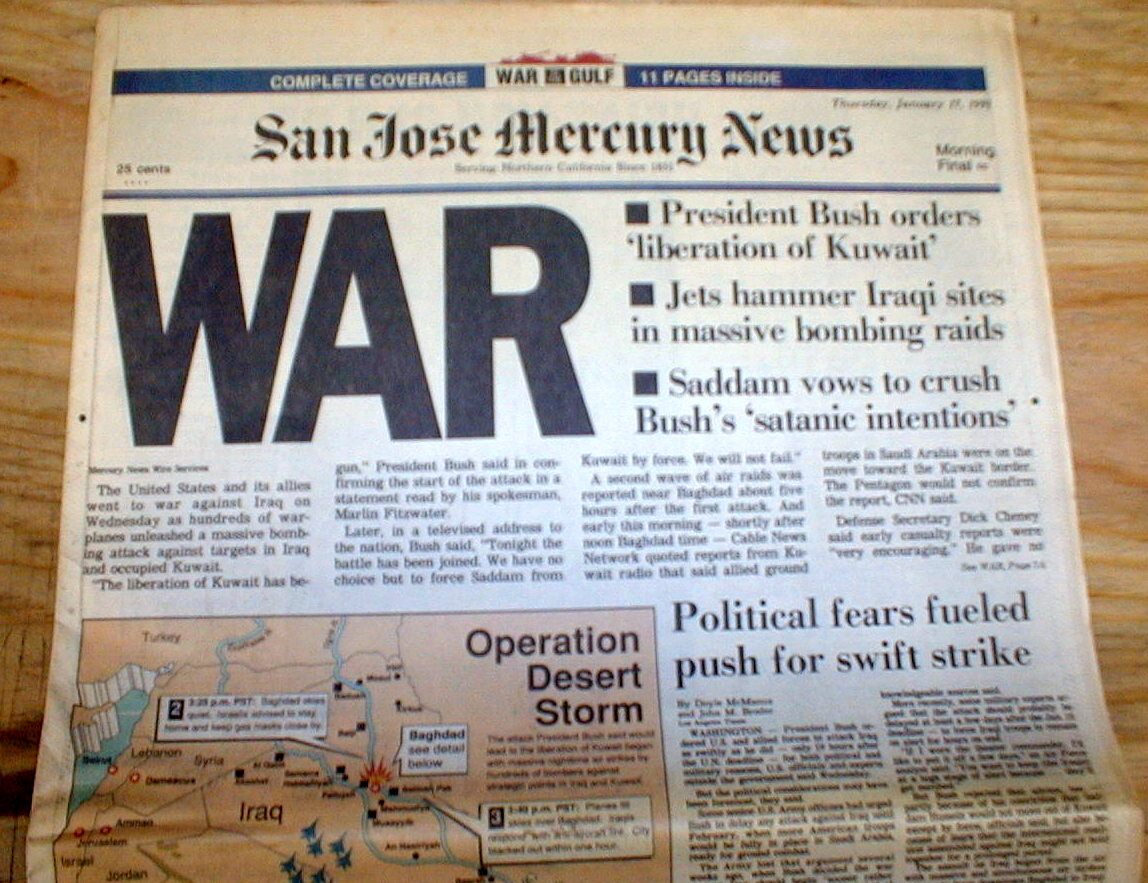 2 1991 headline newspapers 1st GULF WAR BEGINS w air ...