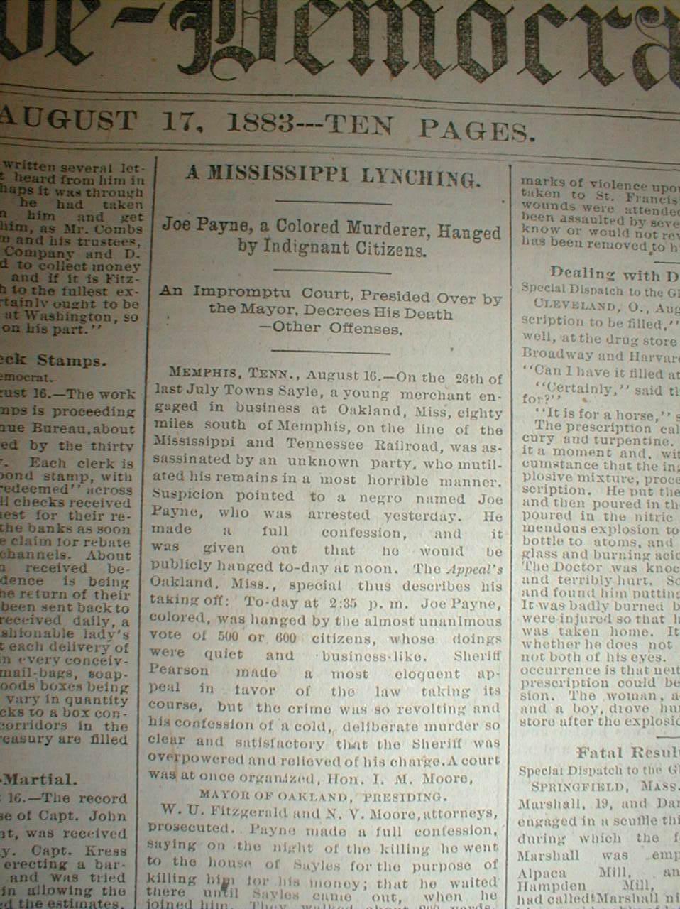 1883 newspaper negro man lynched at oakland in yalobusha