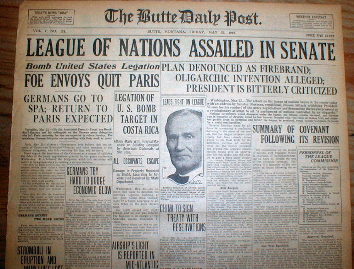 2 1919 headline newspapers US DEBATES LEAGUE OF NATIONS ...