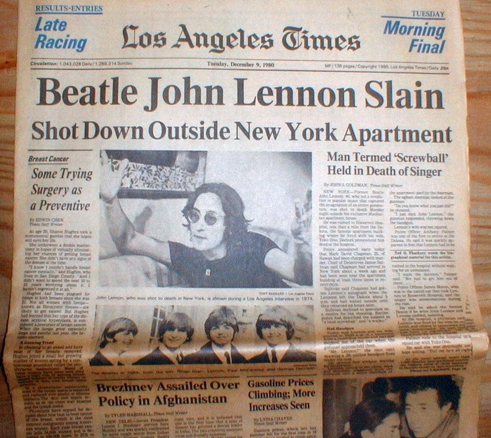 Los Angeles Times: 1980 Los Angeles Times Headline Newspaper Beatle JOHN