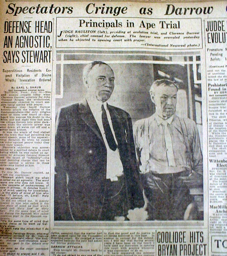 scopes trial and new technology New technology for the masses  religion in the 1920s  and william jenning's bryan posing for photagrapher during the 1925 scopes trial.