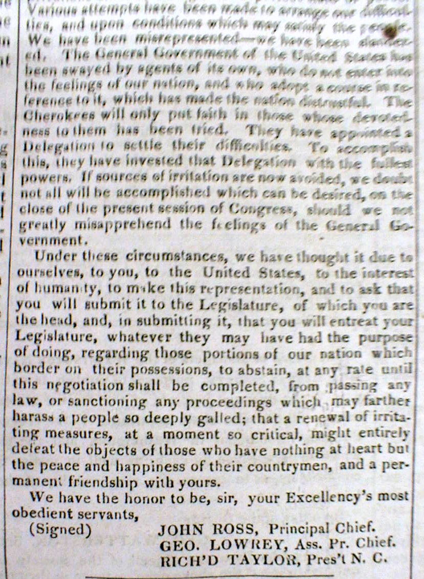 the cherokee nation s appeal to the Georgia (1832), the us supreme court considered its powers to enforce the  rights of native american nations against the states in cherokee nation, the.