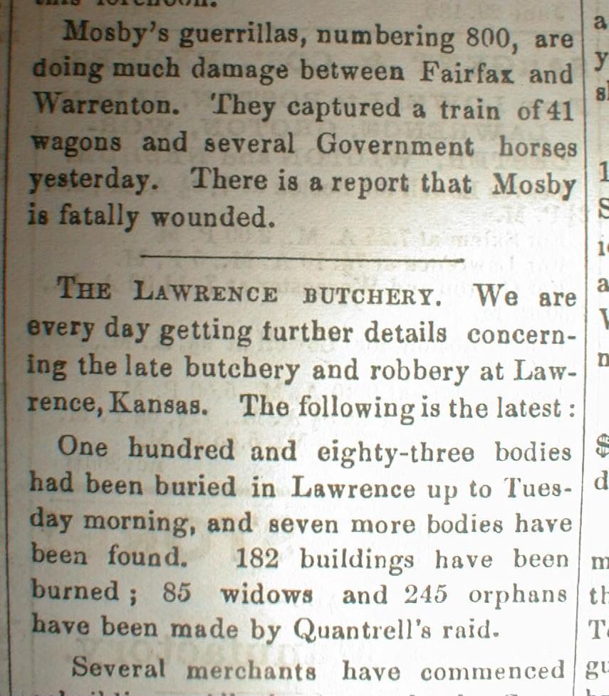 a report on the lawrence massacre Moral clarity regarding the lawrence massacre and  or suspected that you were a guerrilla and didn't report  should the victims of the lawrence massacre.