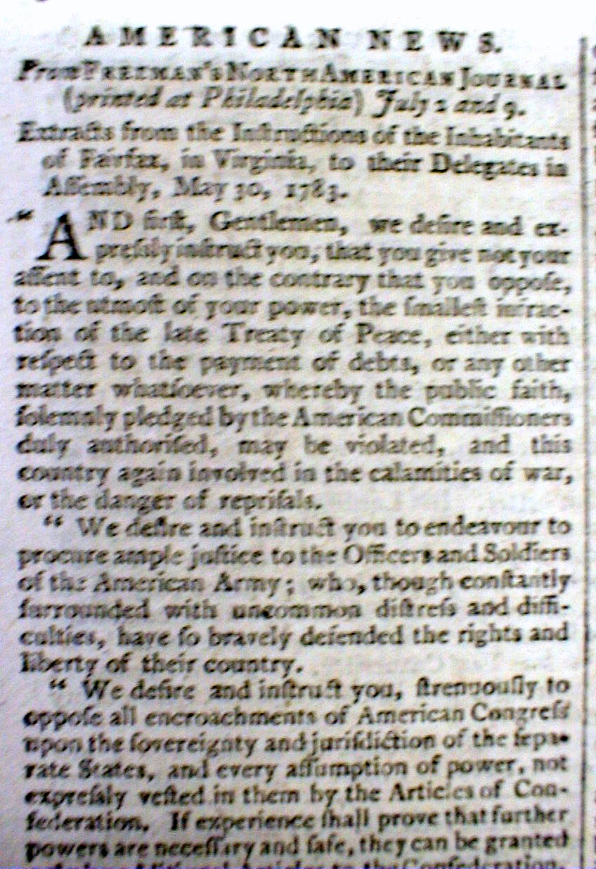 1783 revolutionary war newspaper w letter fairfax county for Revolutionary war newspaper template