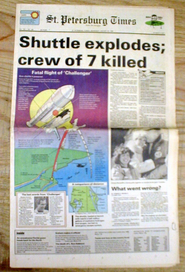 space shuttle challenger newspaper article - photo #17