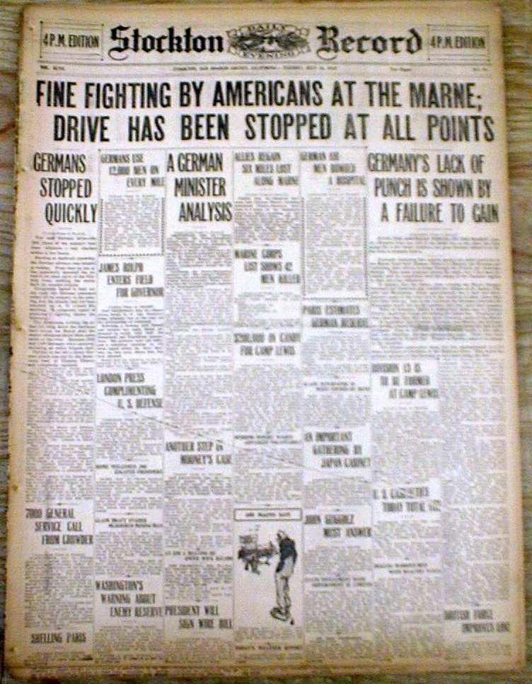 Details about  15 1918 WW I newspapers SECOND BATTLE of the MARNE Beginning ofTheENDfor GERMANY