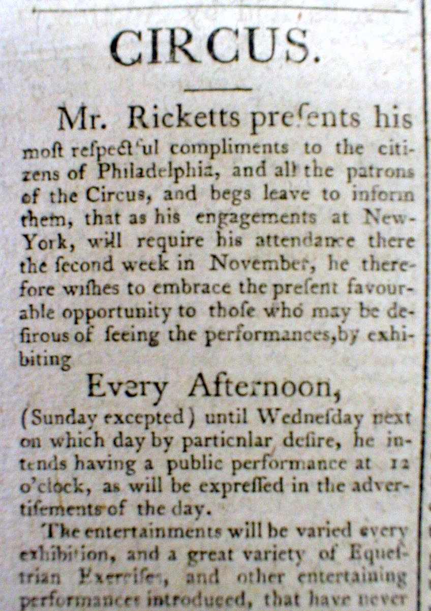john bill ricketts a circus god Circus history page 2 of 2  russia that same year, one of his pupils, british equestrian john bill ricketts (1769-1802), opened the first circus in the united.