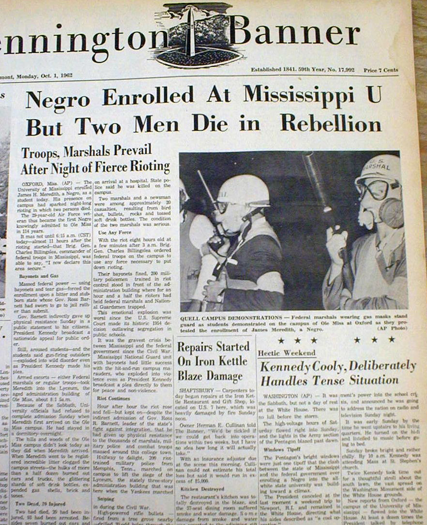 1962 newspapers james meredith 1st negro admitted ole miss