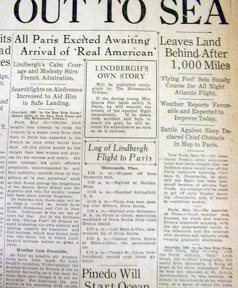 1927 headline newspaper charles lindbergh solo flight for New york to paris flight