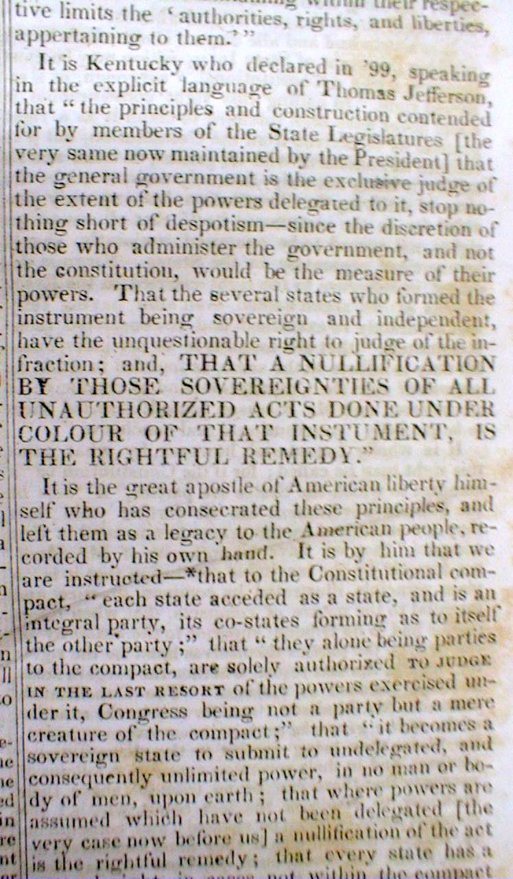 sen robert haynes advocates nullification This led to a very interesting debate in the us senate between these two men  robert hayne believed states should be able to nullify laws if those laws helped .