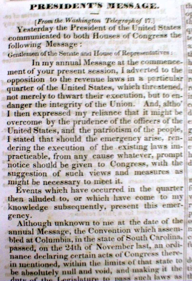 south carolina nullification essay Allowed south carolina to withdraw its threat of secession w/o losing face how the compromise of 1833 temporarily quieted the issue of nullification the union would fall apart this may have happened to the republican form of government if those who wanted nullification had succeeded.