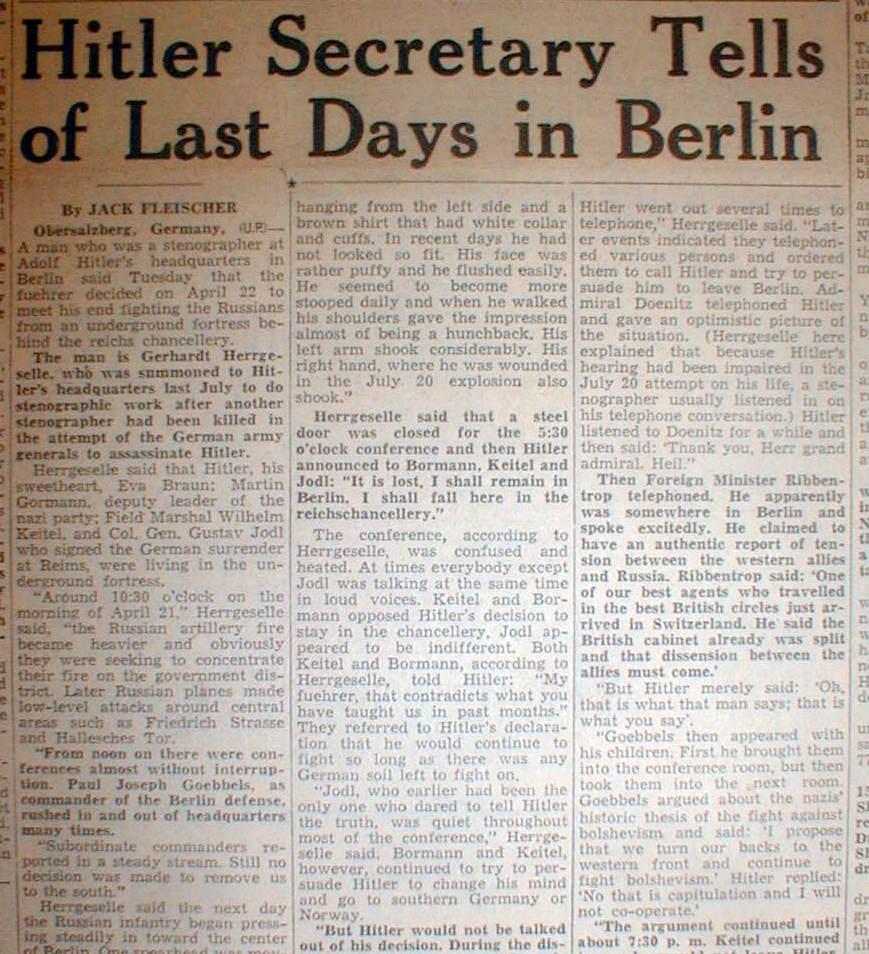 Hitler Death Newspaper Article