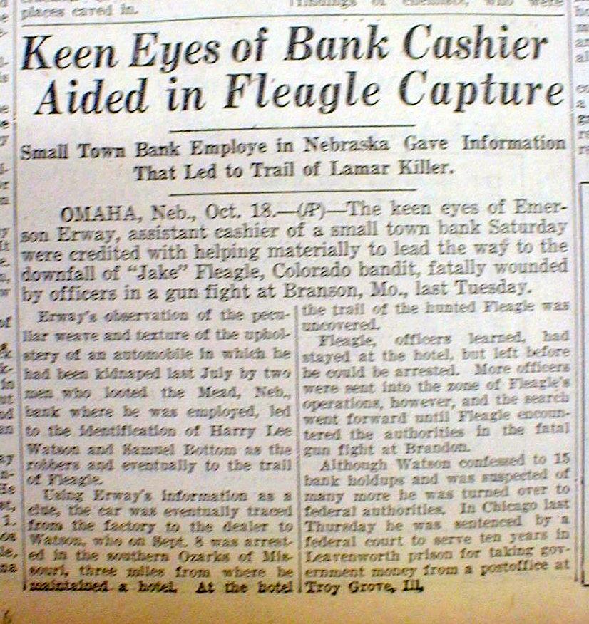 Shooting In Lamar Colorado: 2 1930 Newspapers Gangster JAKE FLEAGLE SHOT DEAD He