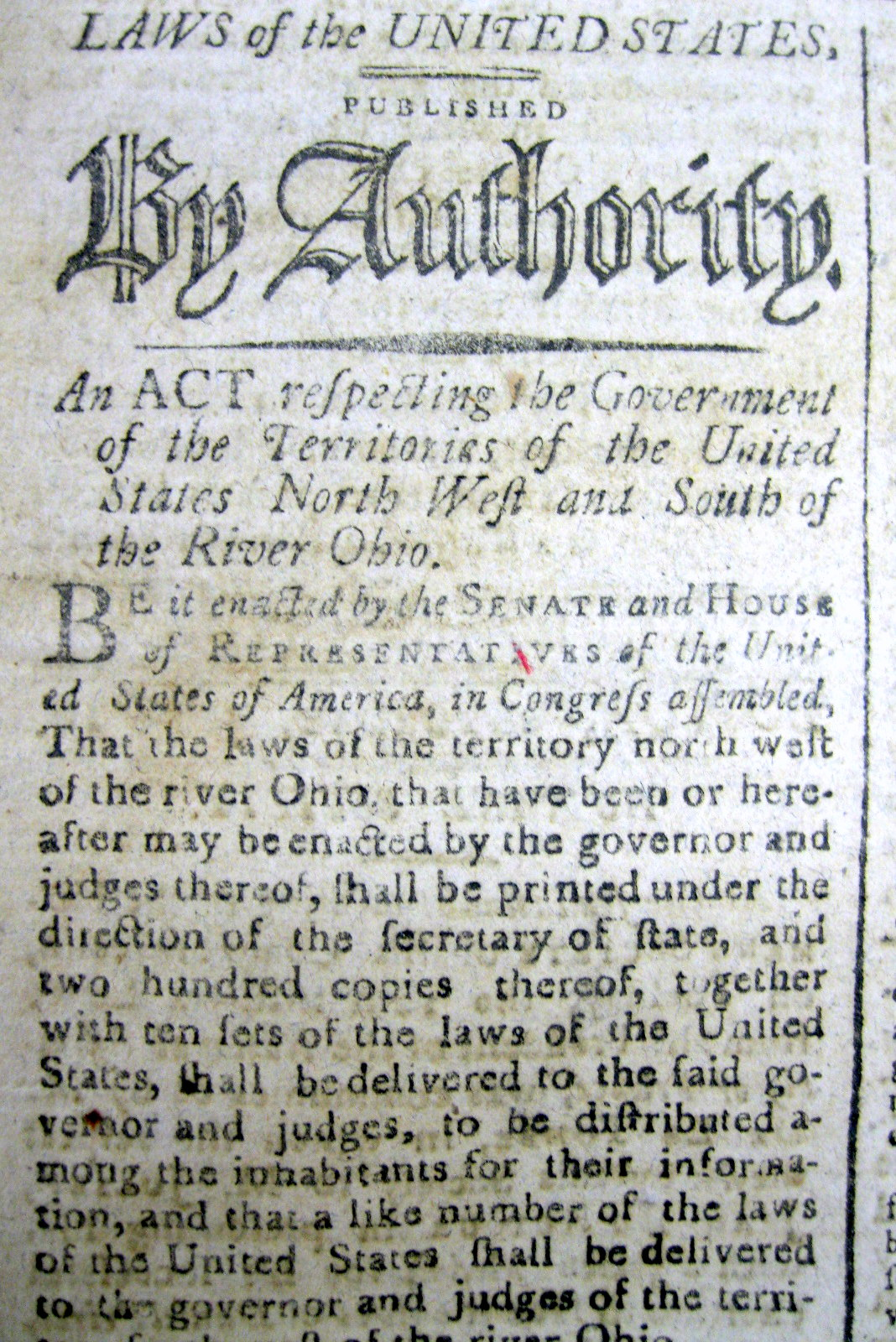 1792 newspaper w the ACT setting up Government for OLD NORTHWEST ...