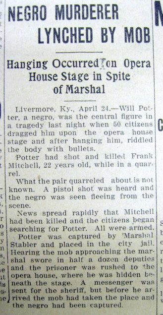 1911 newspaper negro lynched in opera house   livermore