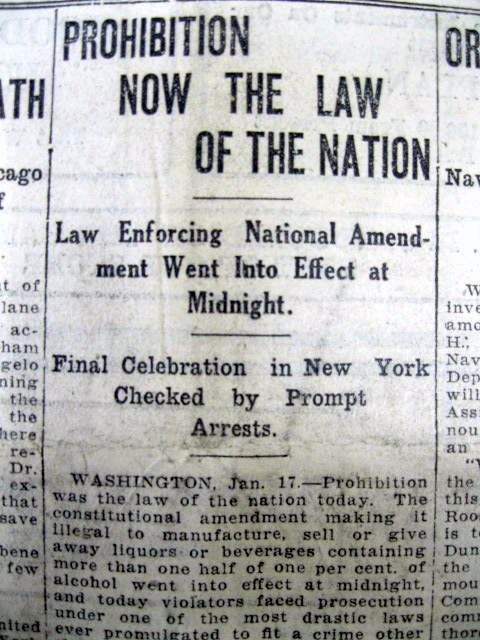 1920 newspaper national prohibition now into effect 18th